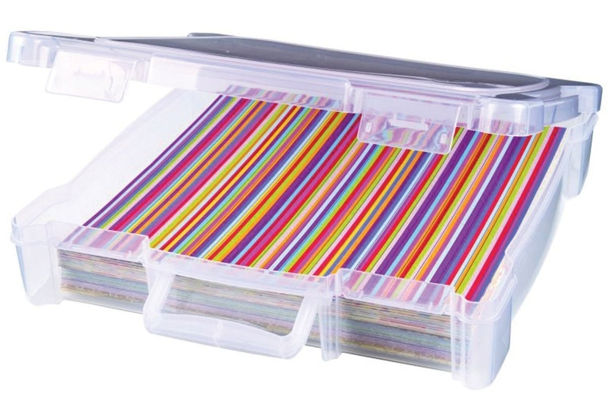 Prevent stains, wrinkles, folds, and untimely death for your scrapbooking papers with this sturdy storage bin.