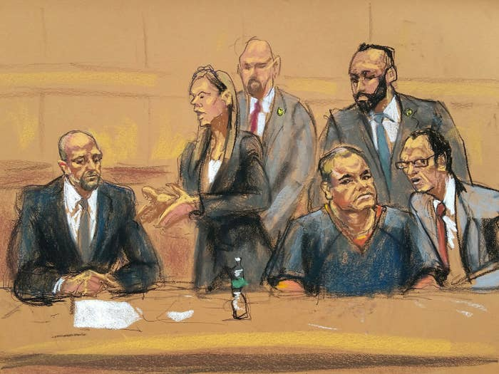 "Defense attorneys Michael Schneider, Michelle Gelernt, and Joaquin ""El Chapo"" Guzman are shown in this courtroom sketch in the Brooklyn borough of New York City, February 3, 2017."