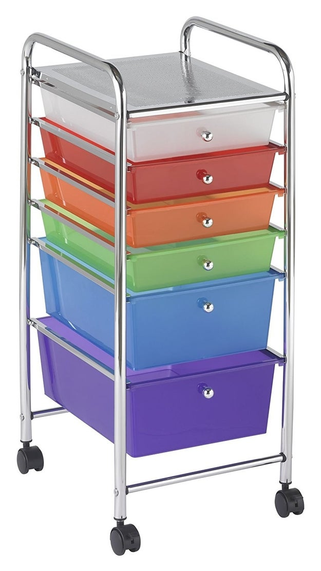 File away small-scale stuff like stencils and markers in this colorful organizer that you can wheel around as you please.