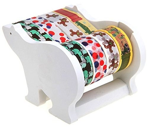 Put four rolls of washi tape in rotation on your workspace tabletop with this polar-bear tape dispenser.