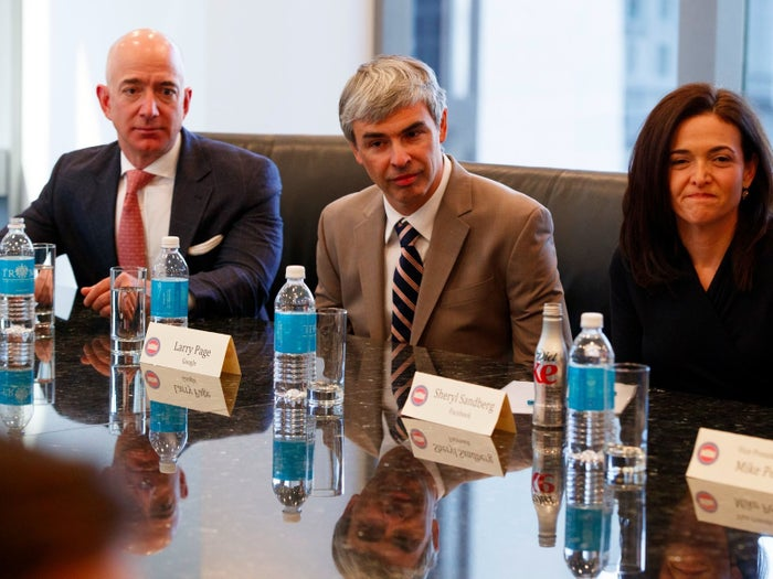 Jeff Bezos at a meeting with President-elect Donald Trump at Trump Tower in New York City, Dec. 14, 2016.