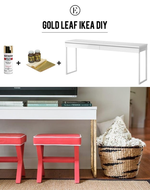 Create a chic TV console center by sprucing up your furniture with gold leaf.