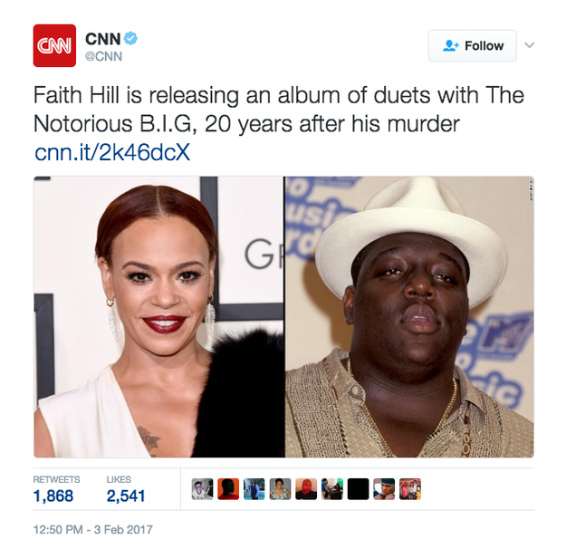 """On Friday afternoon, CNN mixed up the two women on Twitter, saying that Hill was releasing an album of duets with Notorious B.I.G. """"20 years after his murder."""""""