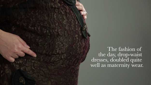 Drop-waist dresses worked well for maternity and gave expectant mothers a little more breathing room.