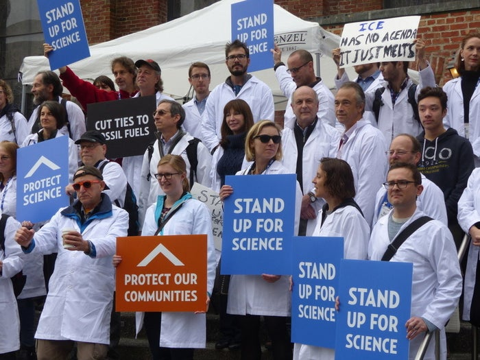 A protest at the American Geophysical Union meeting in December.
