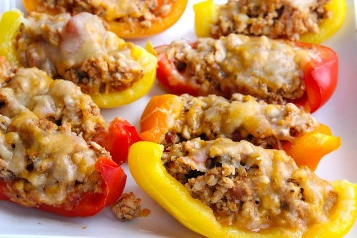 These are filled with a mix of lean ground turkey, cheese, and chili powder. For a vegetarian version, swap the turkey for black beans.More: How To Make Bell Pepper Nacho Boats