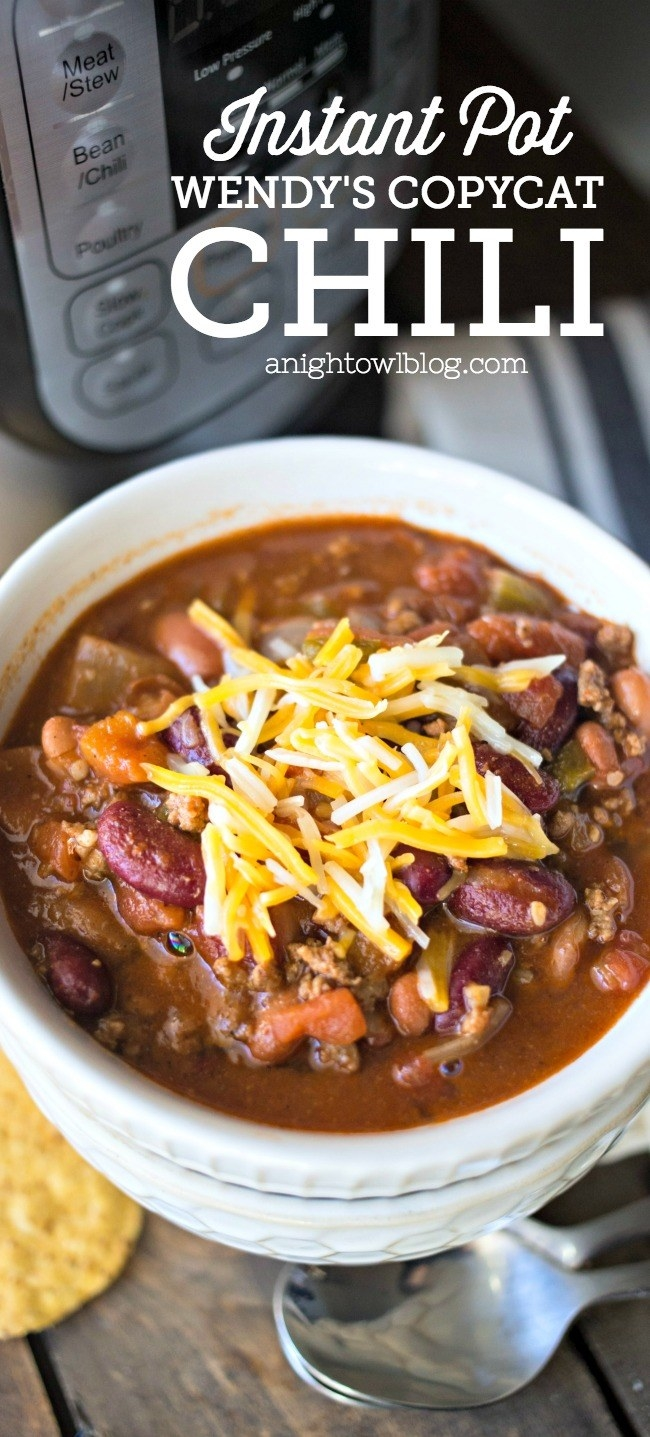 Instant Pot chili plated in a bowl