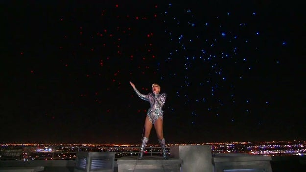 """""""One nation, under God, indivisible, with liberty and justice for all,"""" Gaga finished underneath a backdrop of red, white, and blue stars."""