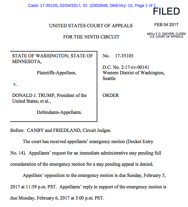 Read the order denying the immediate stay request: