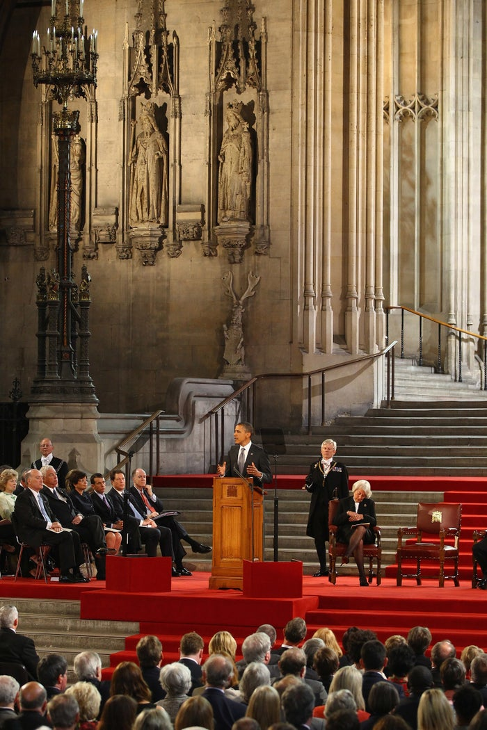 President Barack Obama addressing members of parliament in Westminster Hall in 2011.