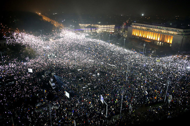 Powerful Photos Show Half A Million People Marching Against Their Government In Romania