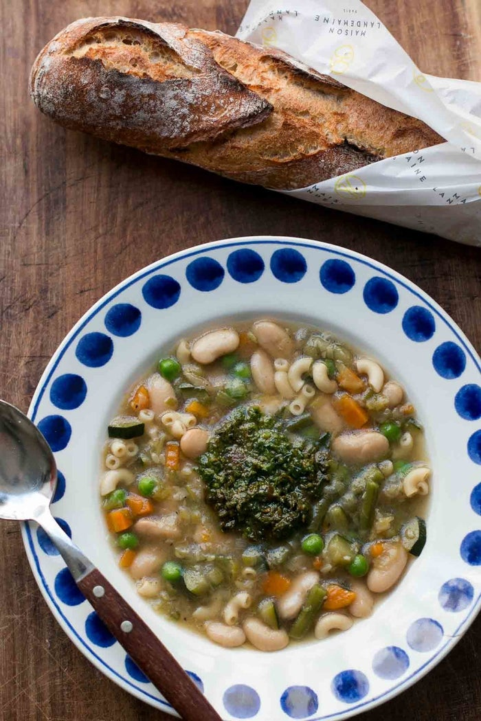 Pistou soup is a very popular southern French soup made with beans, pasta and a generous dose of pistou, the provençal cousin of pesto (only without the pine nuts). Get the recipe here.