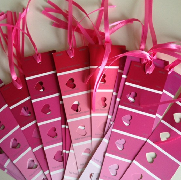 Get some paint swatches and a heart-shaped hole punch to create these. Top them off with a fun ribbon. Via Book Riot.