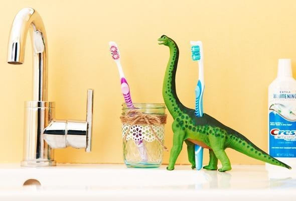 Clean your toothbrush holder regularly in the dishwasher or with hot water and dish soap.