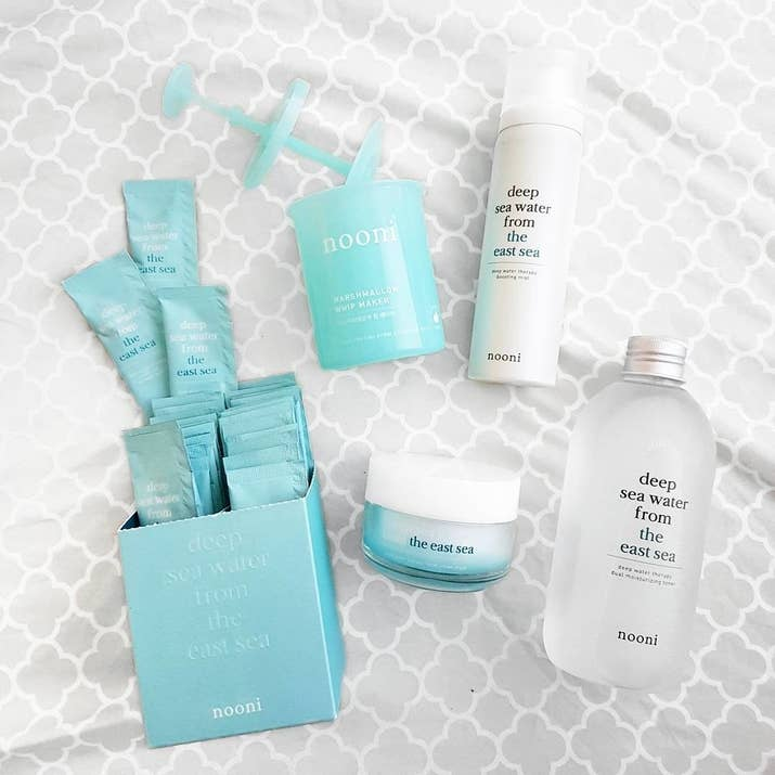 It comes with an exfoliating cleanser, toner, facial cream, boosting mist, marshmallow whip maker (for making fluffy AF foam cleanser), and skin pads.Get it from Memebox for $40.