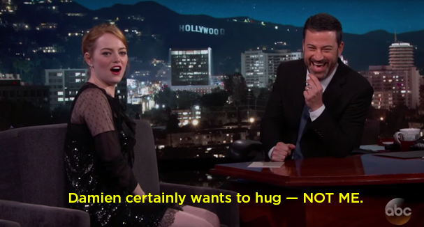 When Emma Stone was on Jimmy Kimmel Live Monday night, he played the clip back for her. Her reaction was amazing.