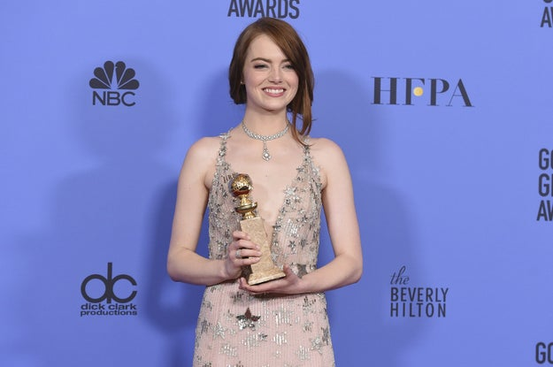 And last month at the Golden Globes, she had the best damn night. La La Land won like 106 awards (seven), and Emma won her first Globe for Best Actress in a Motion Picture, Musical or Comedy.