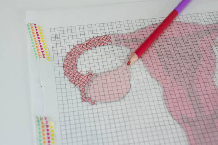 or just create your own pattern from a printed picture with coloring pencils freezer paper and graph paper