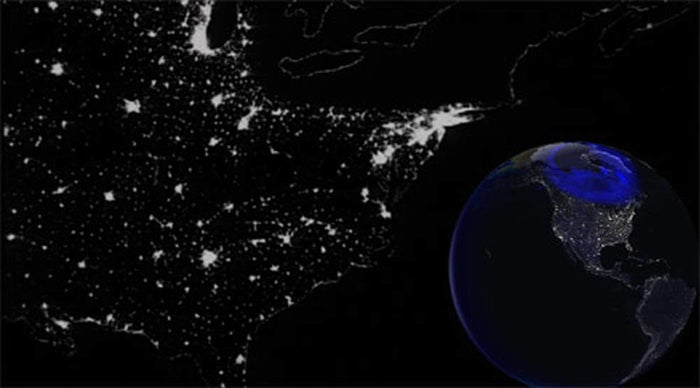 A NASA rendering of the 1989 blackout.