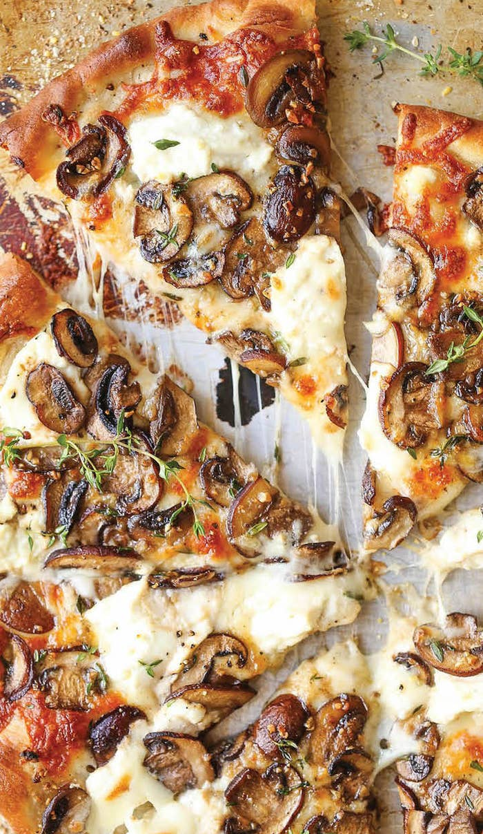 This pizza, ready in 30 minutes, is supposed to yield four servings. But if you're anything like me, finishing this one off with just one other person shouldn't be too much of a challenge.Get the recipe here.