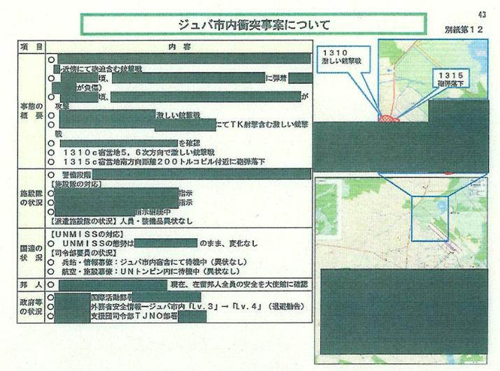 「1310 激しい銃撃戦 1315 砲弾落下」とされている地図の右上が陸自の宿営地付近、黒塗りの右下はUNMISS司令部付近と思われる。