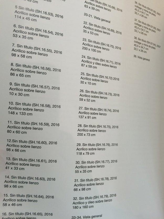 Vi el catálogo de un pintor alemán enemigo de los títulos.