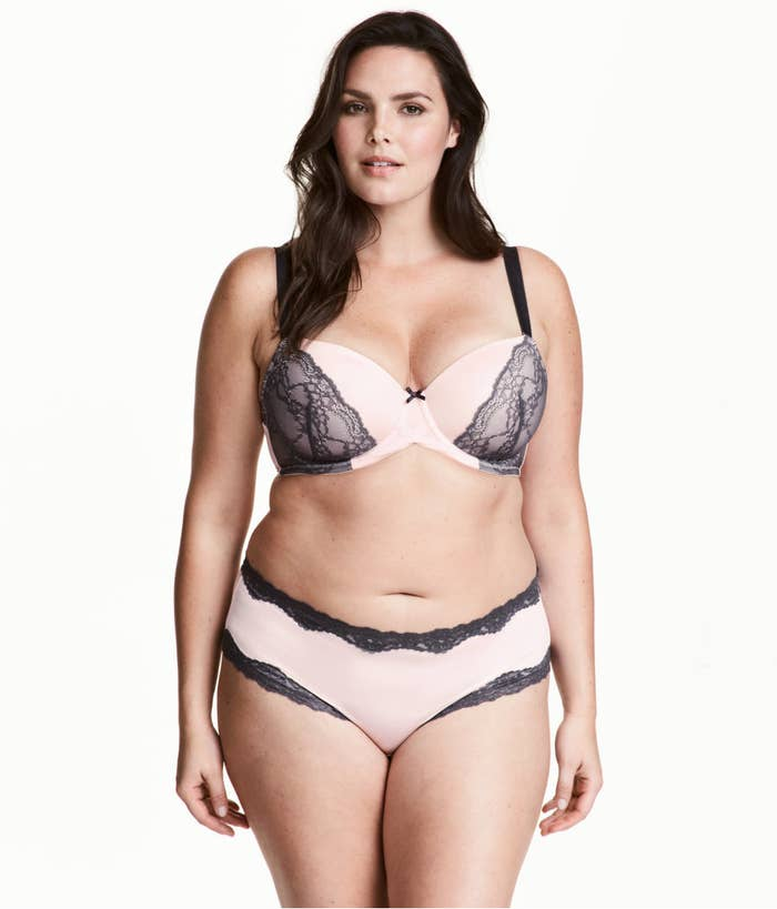 e3cee7e17d A pink and black lace set for a contrasting color combination that just  works.