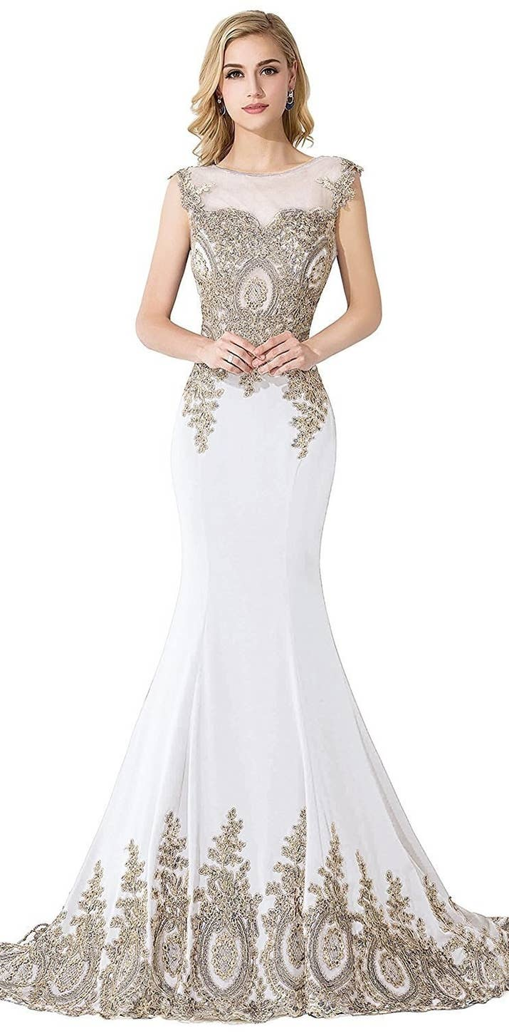 20 gorgeous wedding dresses you wont believe you can get on amazon an evening dress with some gorgeous gold detailing ombrellifo Images