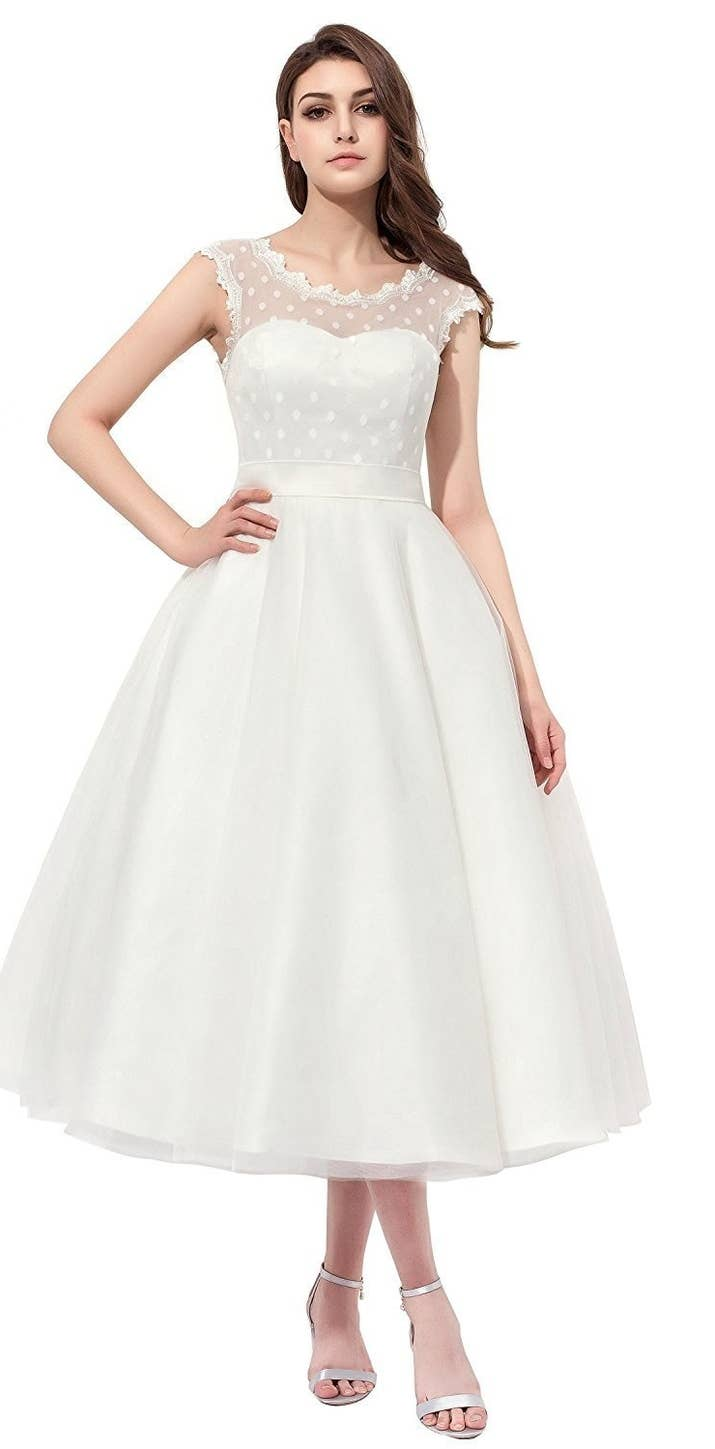 20 gorgeous wedding dresses you wont believe you can get on amazon a tea length dress that is not itsy bitsy teeny weeny yellow or a bikini but it does have polka dots ombrellifo Gallery