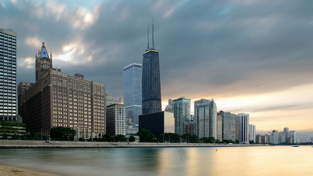 Wave goodbye to the Willis Tower in Chicago and say hello to the Hancock Building.