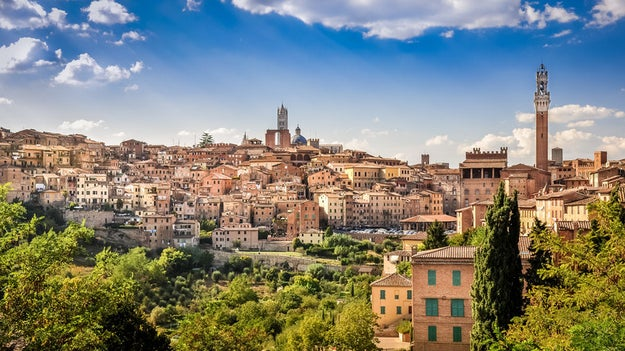 Lean away from the Leaning Tower of Pisa and drop by Siena.