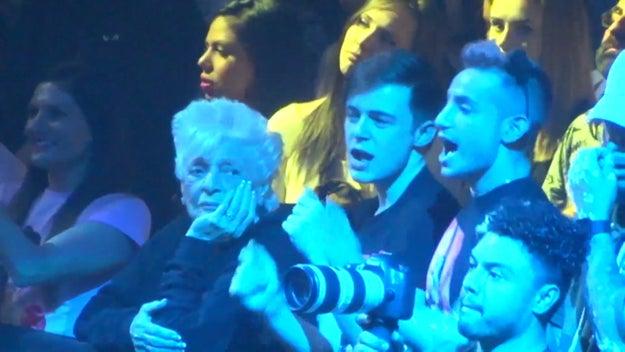 By side-eyeing her always-excited grandson Frankie...