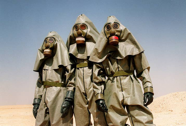 in pictures the grim and absurd reality of the first gulf war french iers from the foreign legion infantry regiment wear full chemical warfare equipment during a training