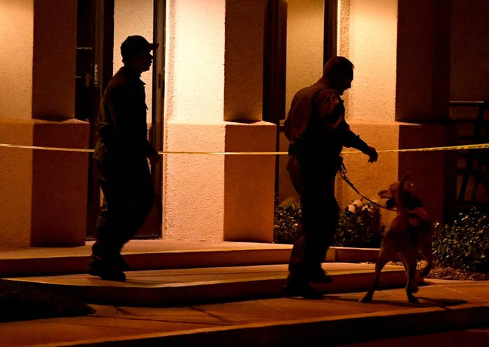 Las Vegas police search the Jewish Community Center of Southern Nevada.