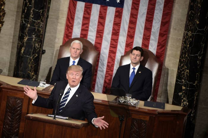 Donald Trump speaks during a joint session of Congress on Capitol Hill on Wednesday.