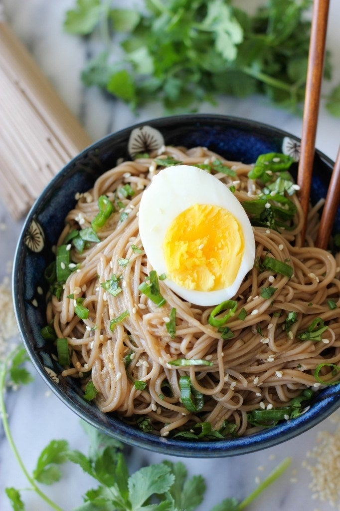 Soba noodles are made from buckwheat flour and contain 6 grams of protein per serving. This recipe ups amps that up even more by adding a hardboiled egg on top. Recipe here.