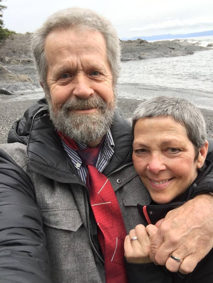 """Ian says he met Jodi in the bank that she was a teller at 4 and a half years ago. """"I thought she looked like Jamie Lee Curtis and told her so,"""" he told BuzzFeed, which is smooth as heck."""