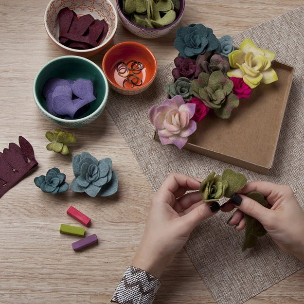 """Plant"" a garden of felt succulents."
