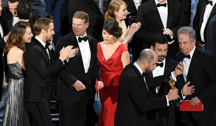 PricewaterhouseCoopers accountants Martha Ruiz and Brian Cullinan onstage at the Academy Awards during Sunday's Best Picture kerfuffle.