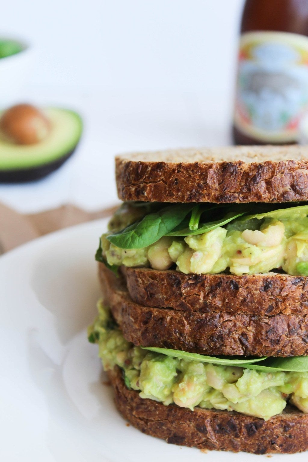 Smashed White Bean + Avocado Sandwich