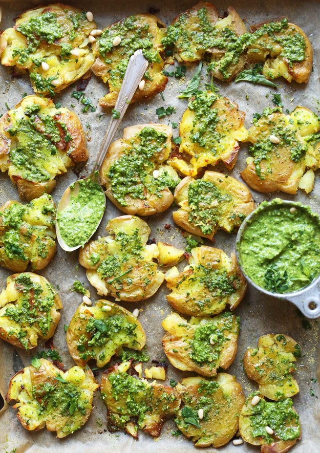 Crispy Smashed Potatoes With Garlic Pesto