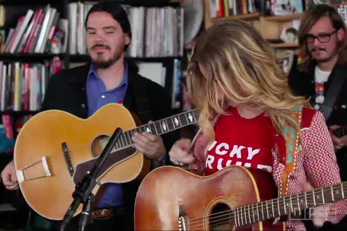 "Margo Price performs in an ""Icky Trump"" T-shirt the day after the election."