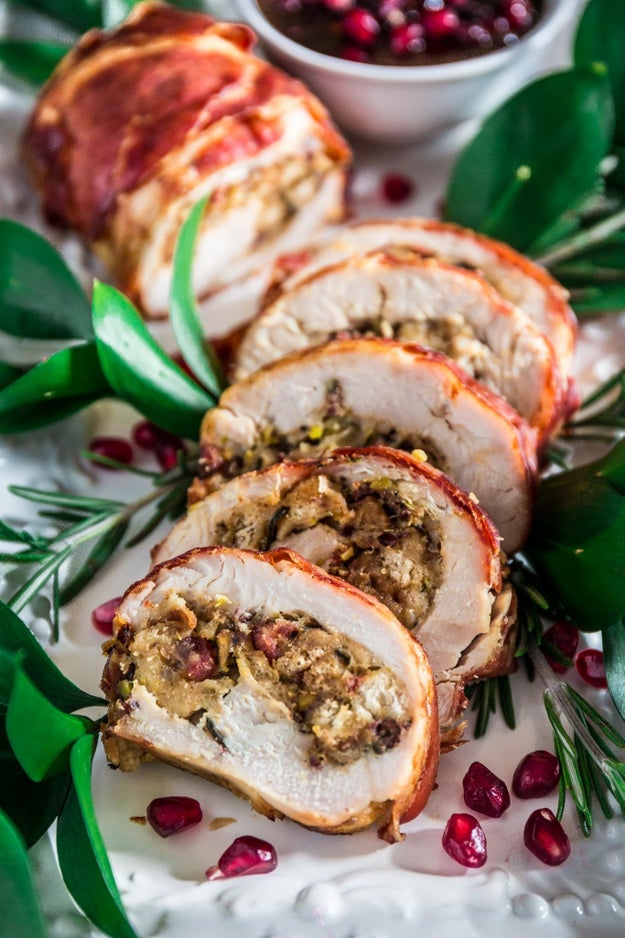 Prosciutto-Wrapped Turkey Roulade With Pomegranate-Port Reduction Sauce