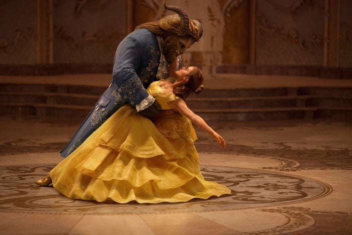 Emma Watson as Belle and Dan Stevens as the Beast in Beauty and the Beast.
