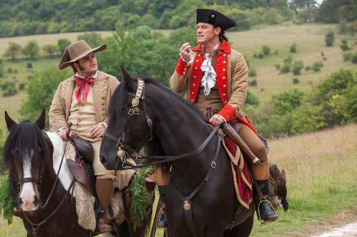 Gaston (Luke Evans) and LeFou (Josh Gad).