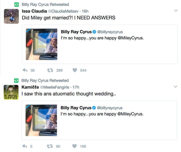 Though Miley and Liam haven't said anything about the picture, Billy retweeted a couple ~wedding tweets~, which would be misleading if Miley and Liam DIDN'T actually get married: