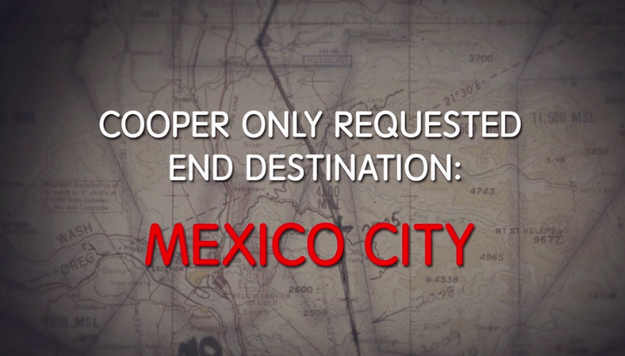 One interesting thing to note before we get into suspects is that the pilot chose the route to Mexico City. This pretty much eliminates the chance that Cooper had an accomplice on the ground.