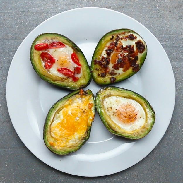 Baked Avocado Eggs 4 Ways