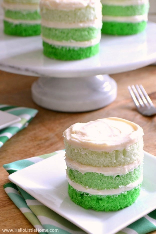 St. Patrick's Day Mini Ombre Cakes