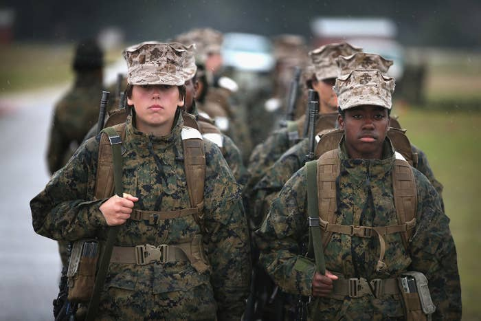 Female Marine recruits in South Carolina in 2013.